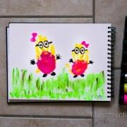 Girl Minions Handprint Art